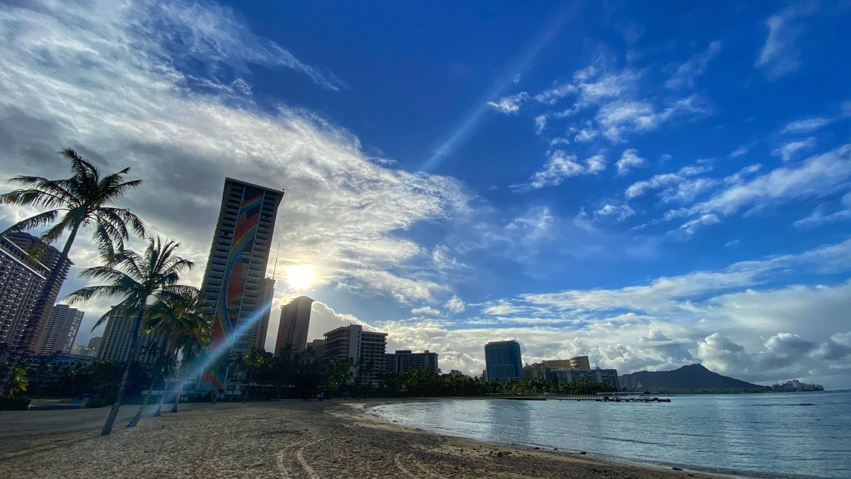 Photo of a quiet Waikiki taken on the morning of July 14, 2020.