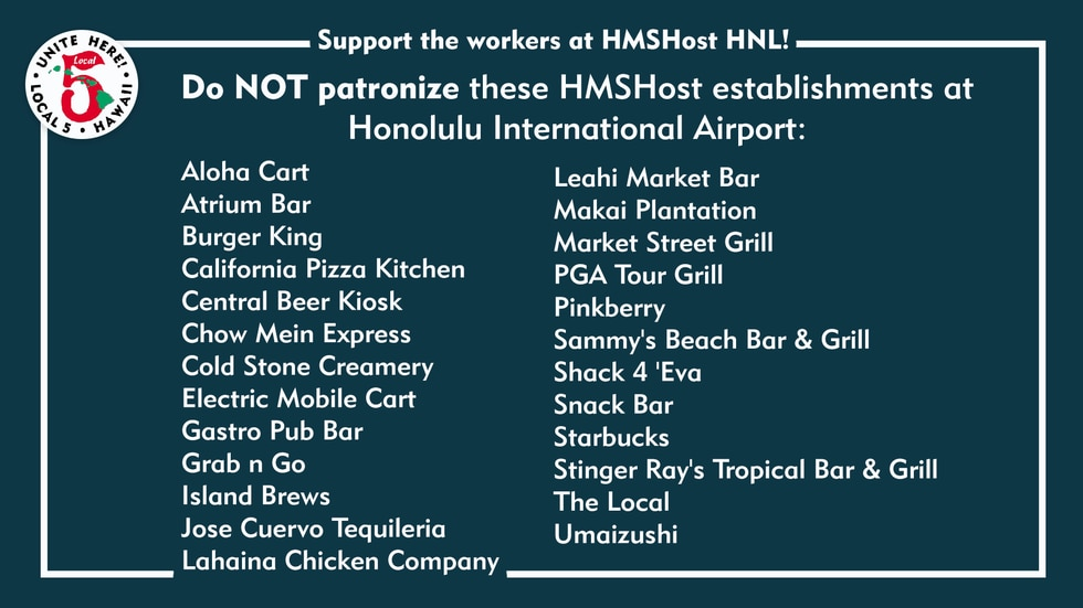 The list of establishments affected by a Local 5 strike.