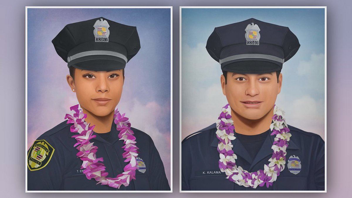 Artist Jonny Castro created these two portraits of HPD officers Tiffany Enriquez and Kaulike...