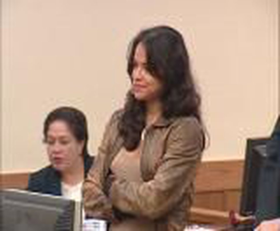 Michelle Rodriguez listens to the judge in court on Tuesday.