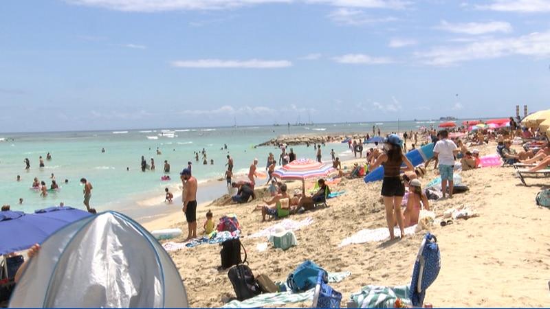 Many kicked off Memorial weekend at Waikiki Beach Saturday.