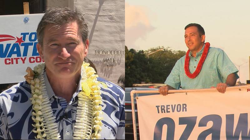 Voters are deciding between Tommy Waters (left) and Trevor Ozawa (right) (Image: Hawaii News Now)