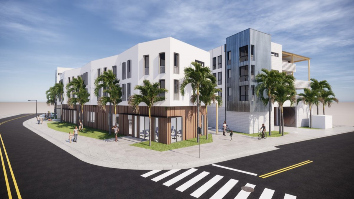 A rendering shows the proposed affordable housing complex along Kawainui Street in Kailua.