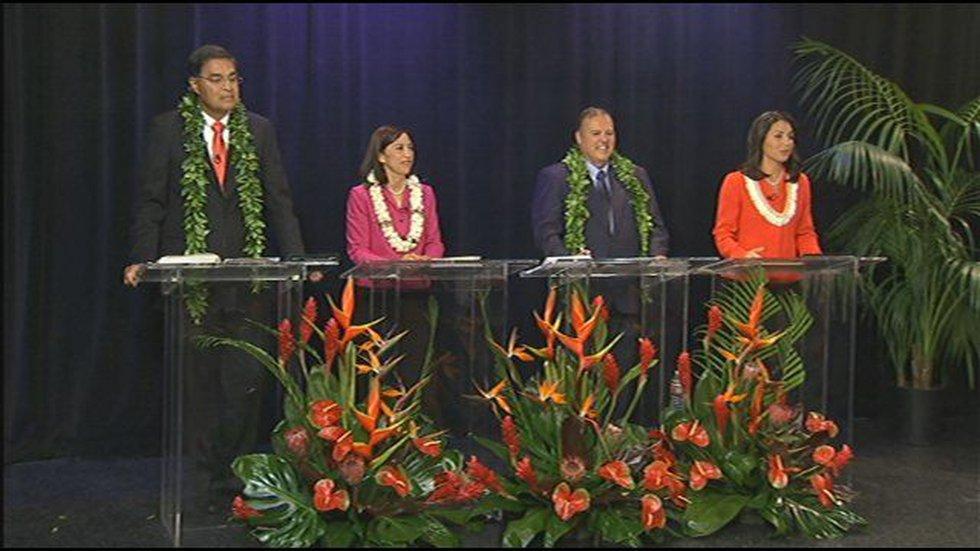 Left to right: Mufi Hannemann, Esther Kia'aina, Bob Marx & Tulsi Gabbard