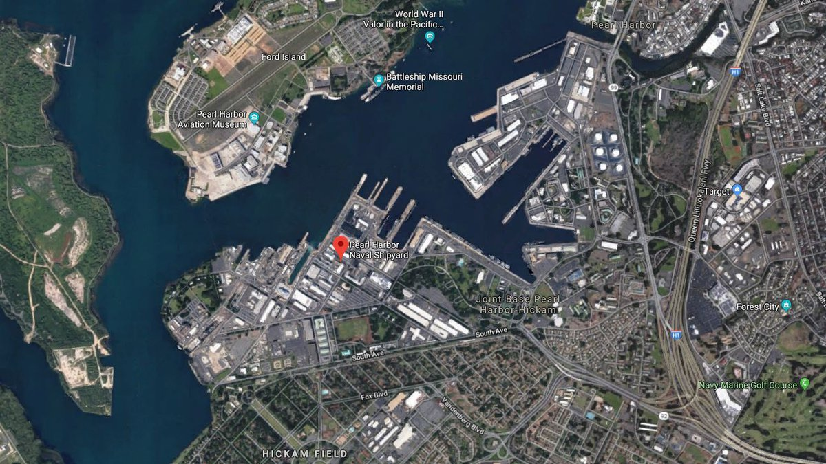 An aerial view of the Joint Base Pearl Harbor-Hickam/Naval Shipyard.