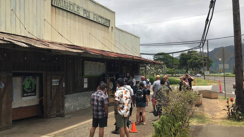 Waiahole Poi Factory attracts crowds and traffic.