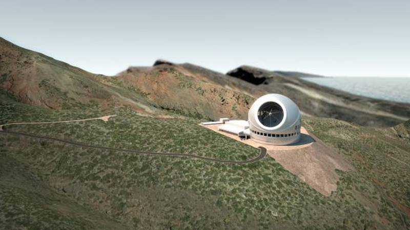 A rendering of the Thirty Meter Telescope at a proposed alternate site at the Observatorio del...