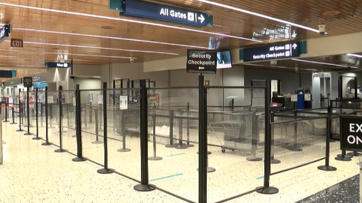 Security checkpoint at Daniel K. Inouye International Airport.