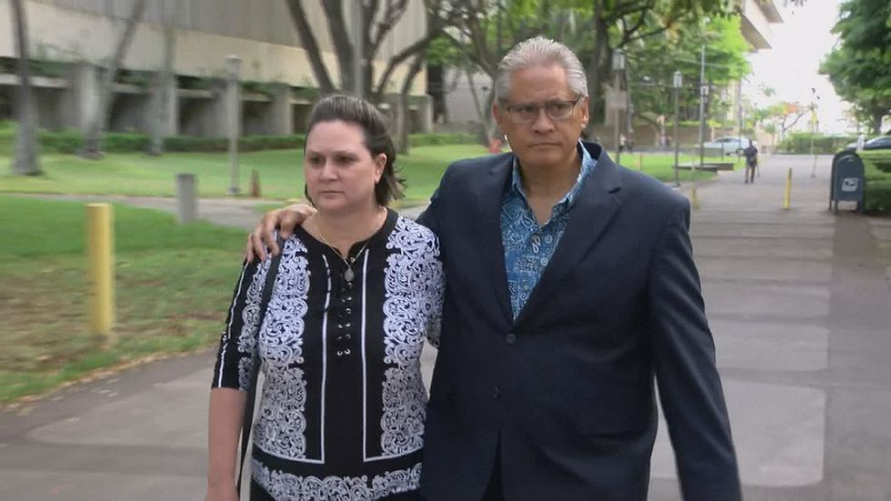 The Kealohas leave federal court after learning of their guilty verdicts (Image: Hawaii News Now)