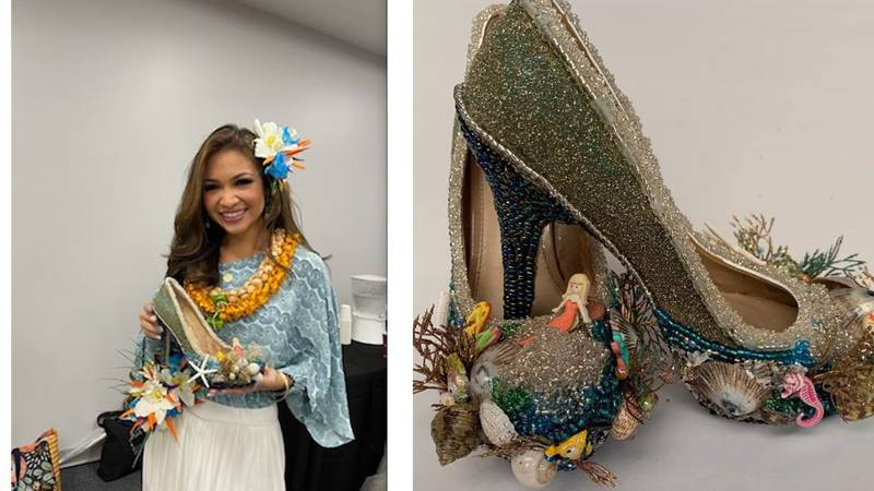 Miss Hawaii Courtney Choy chose to honor the rich cycle of water in Hawaii with her custom shoes.