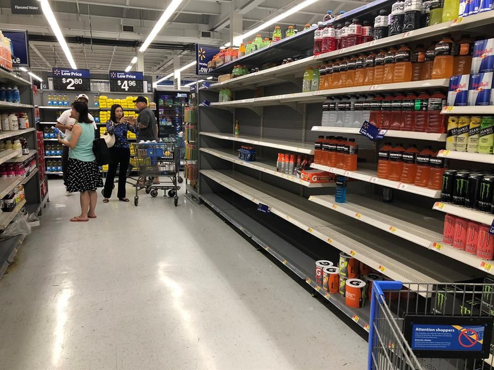 Lots of supplies had already disappeared from Walmart Keeaumoku on Tuesday night. (Image:...