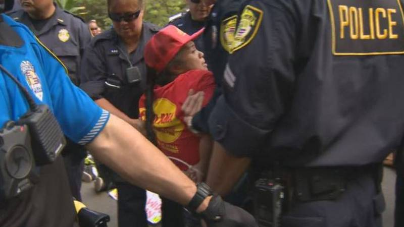 At least 29 protesters were arrested Thursday morning as they blocked construction equipment...