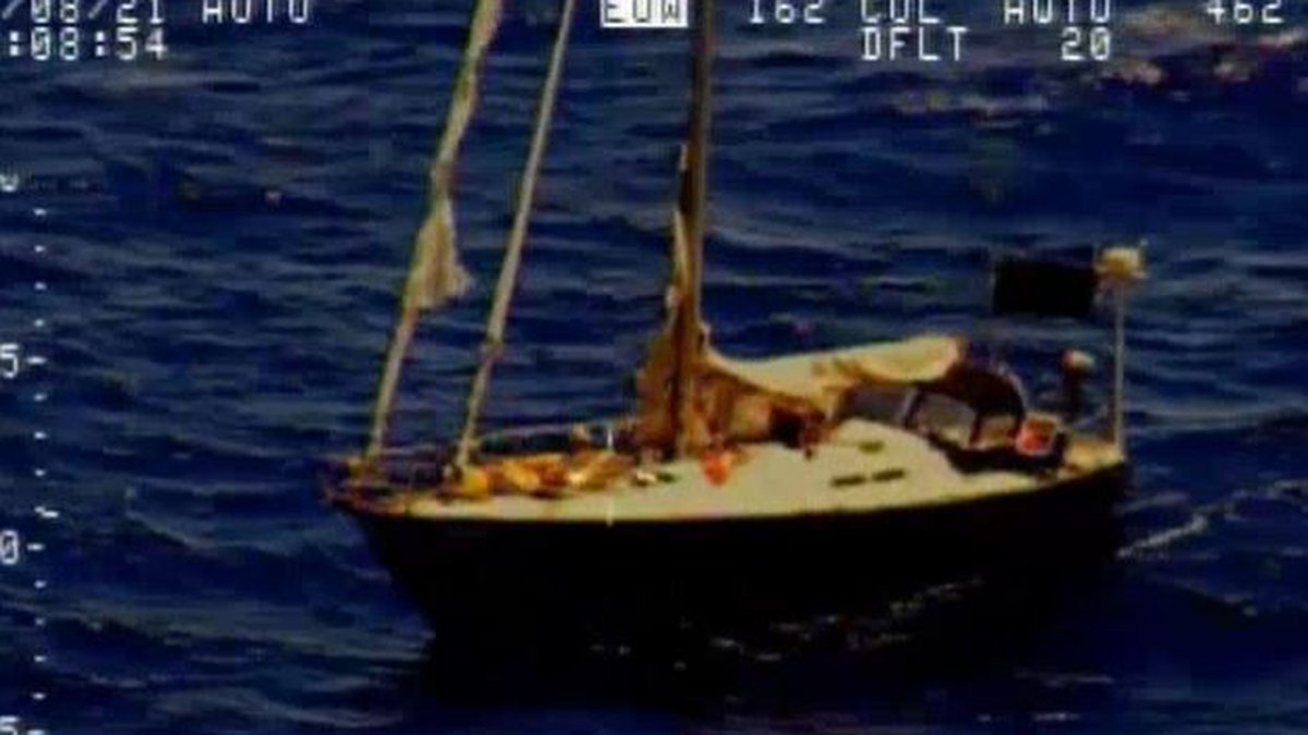 Rescuers said they spotted the missing mariner waving his hands aboard his broken boat.