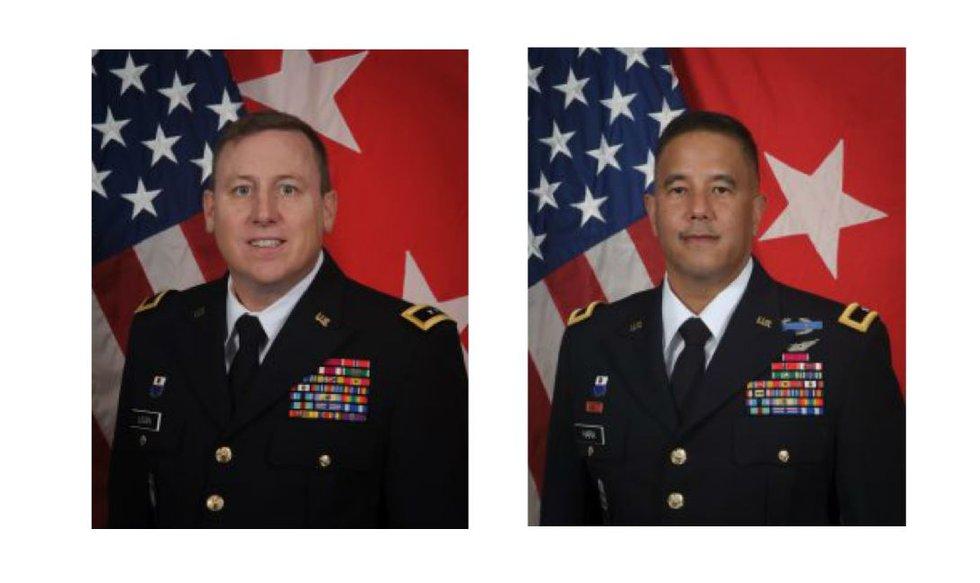 """Maj. Gen. Arthur """"Joe"""" Logan (left) Brig. Gen. Kenneth S. Hara (right)"""