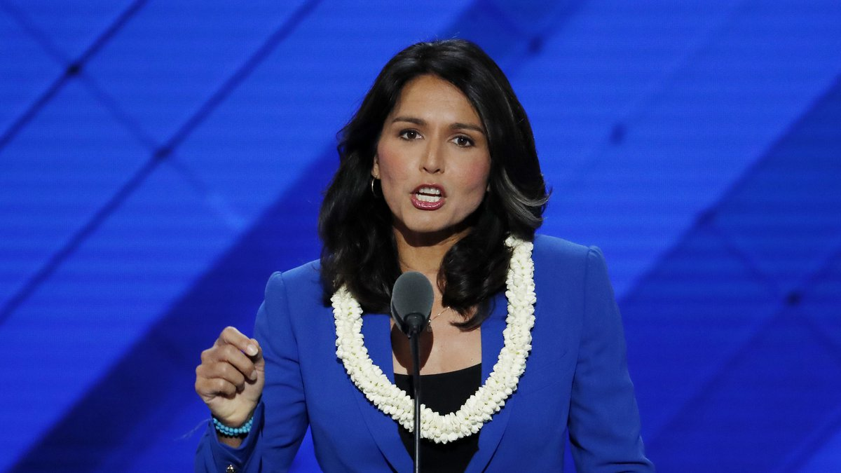 Rep. Tulsi Gabbard, D-HI., during the Democratic National Convention in Philadelphia , Tuesday,...