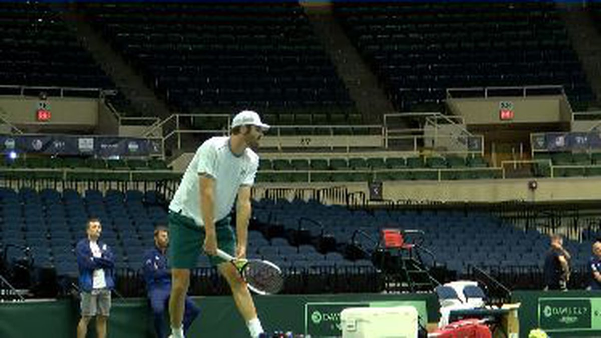Reilly Opelka finishes his last practice ahead of Davis Cup taking place at the Blaisdell March...