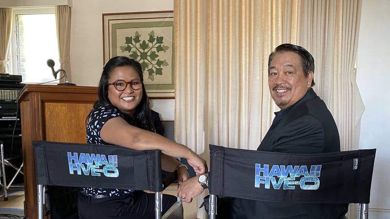 Kimee and Roy Balmilero share a moment on the set of Hawaii Five-0.