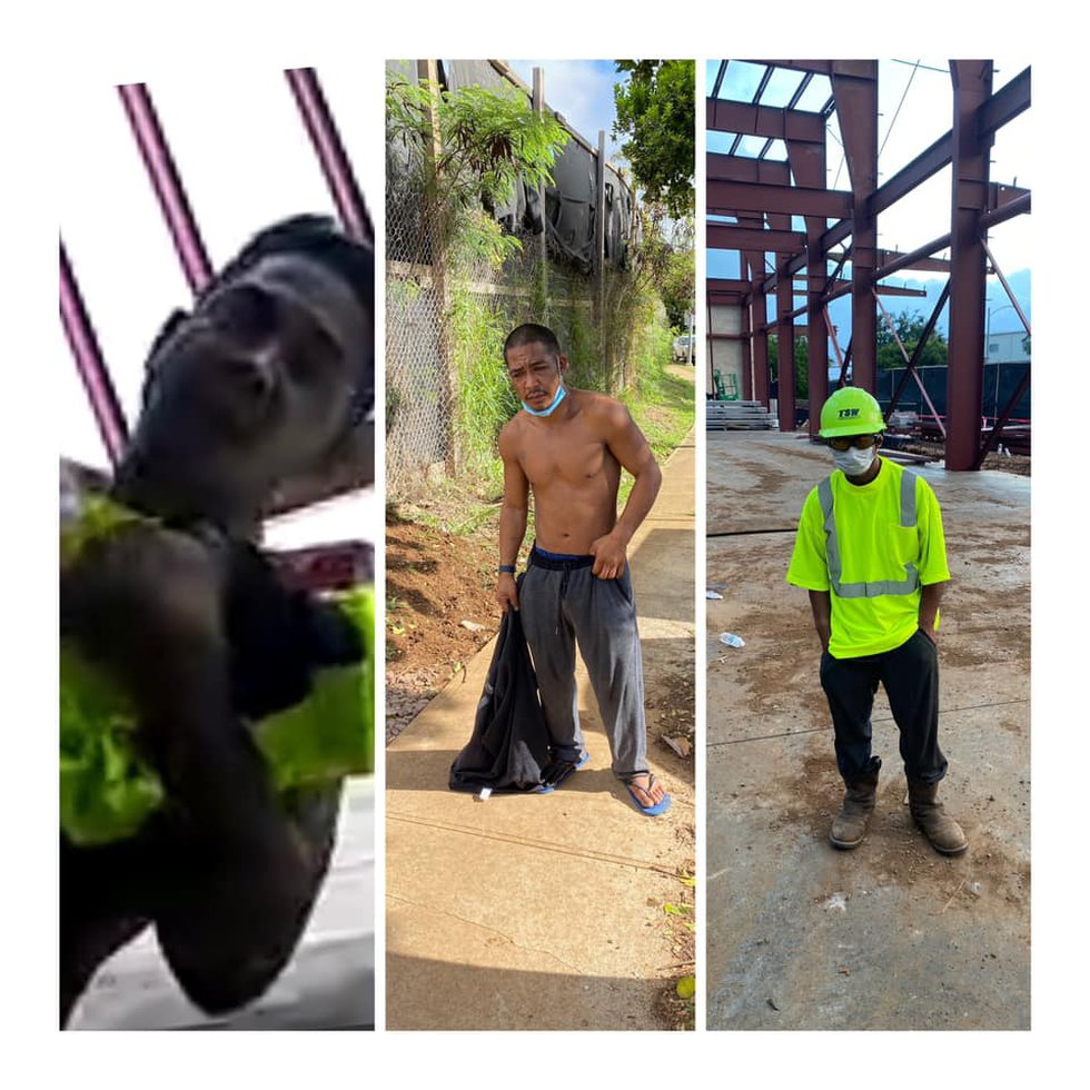 Left: Surveillance image of Sueyoshi stealing from Waipahu construction site. Middle: A worker...