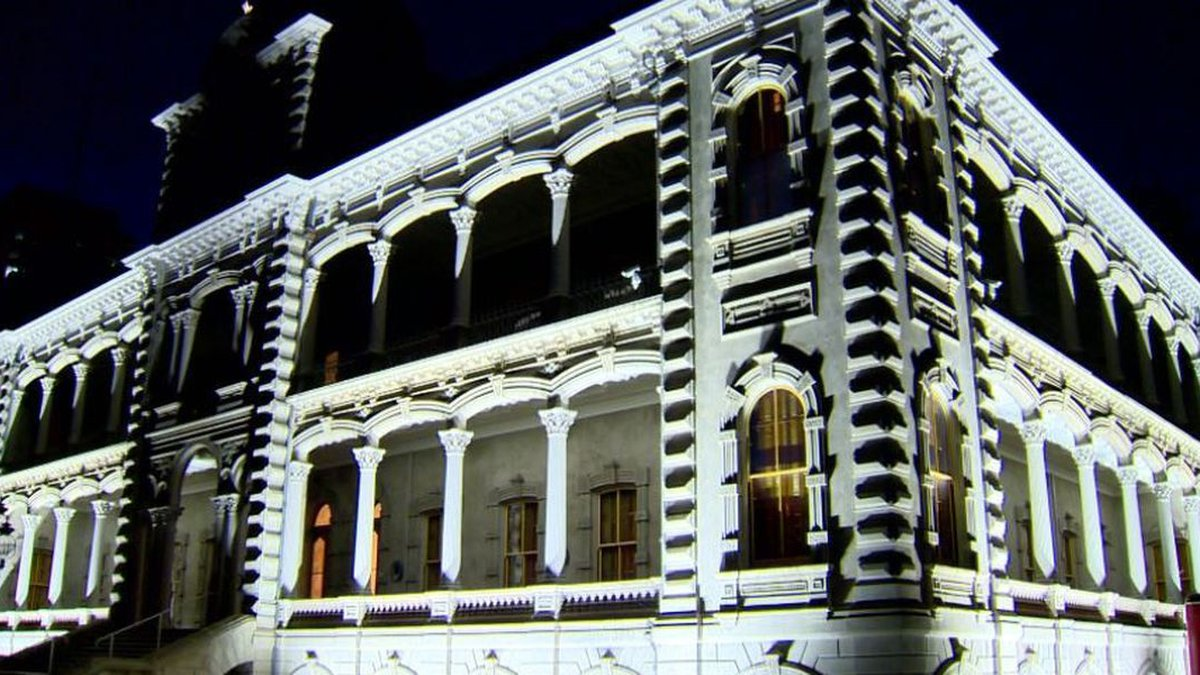 Iolani palace at night following the installation of new lights in 2017.