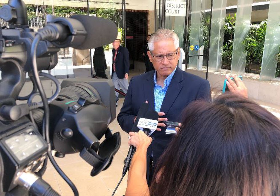 Louis Kealoha leaves court Tuesday morning after his wife pleaded guilty to the remaining...