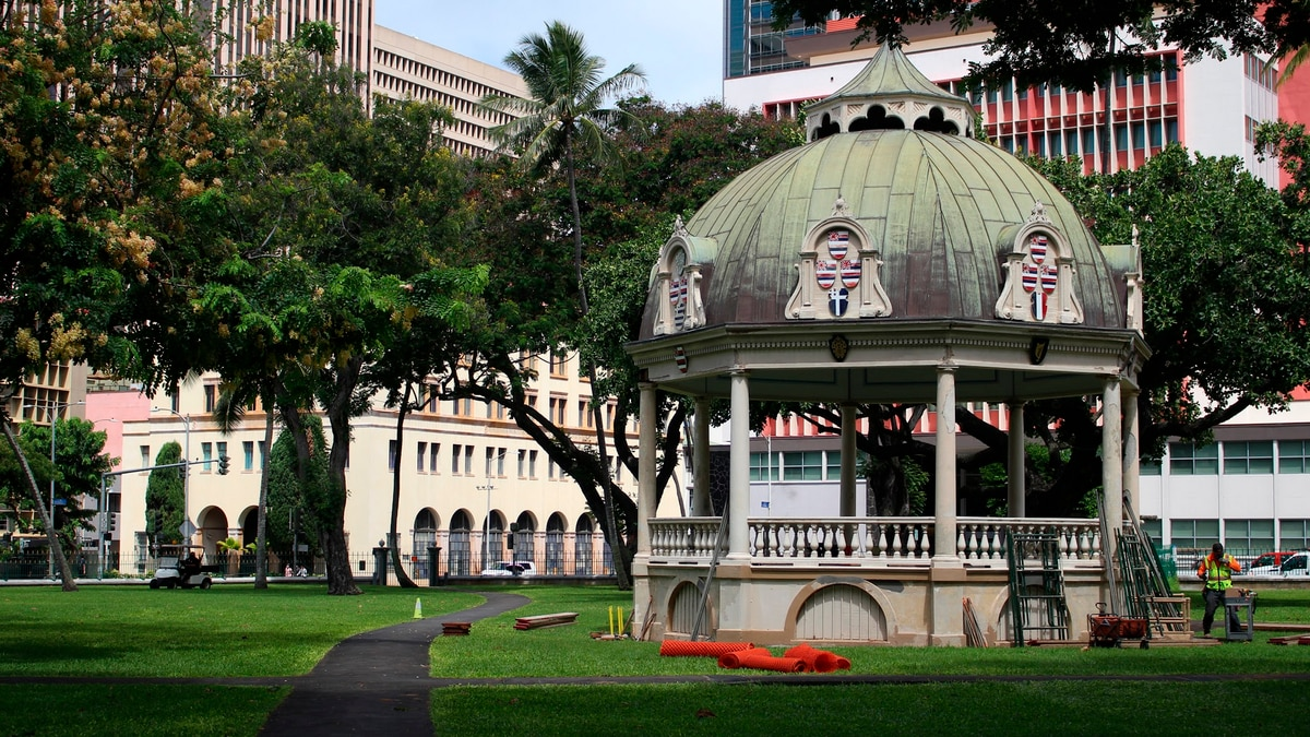 The bandstand sits on the grounds of Iolani Palace