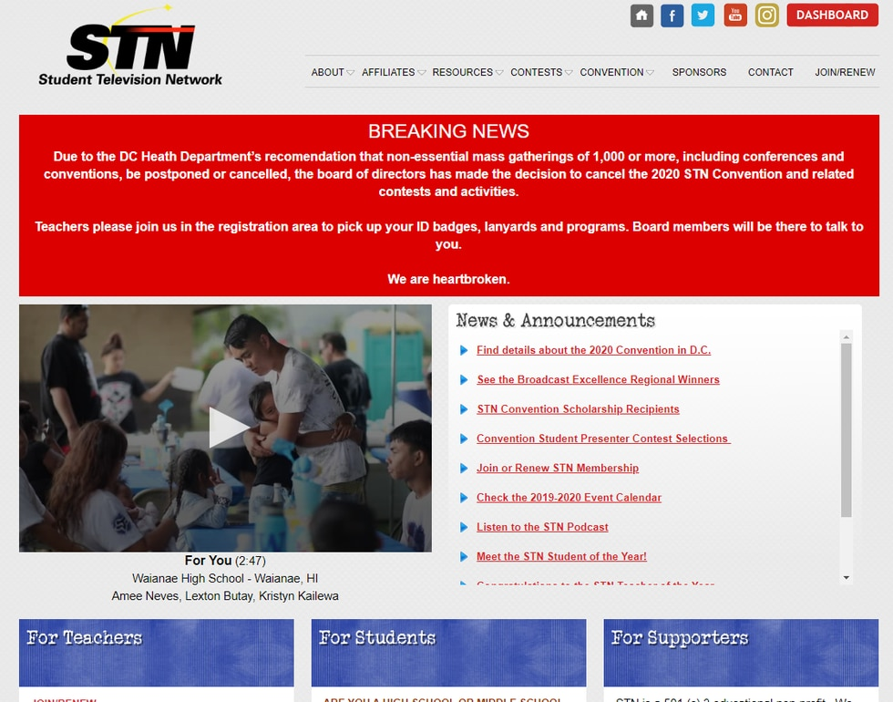 The announcement of the cancellation was posted on STN's website.