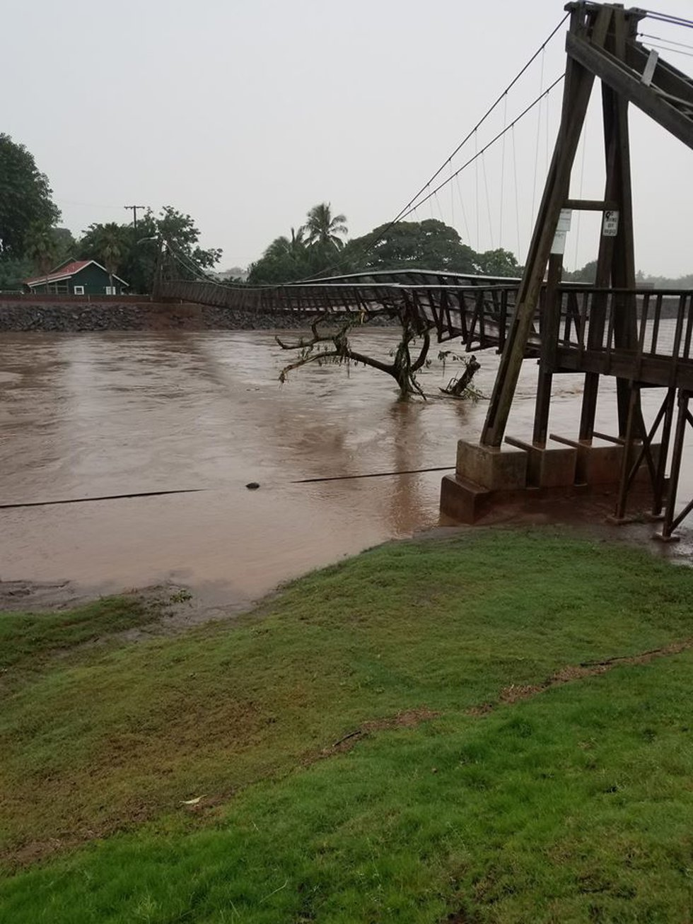 The Hanapepe Swinging Bridge has been damaged and is currently closed.