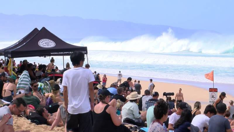 Large crowds flocked to Oahu's North Shore this weekend to catch the monster swell.