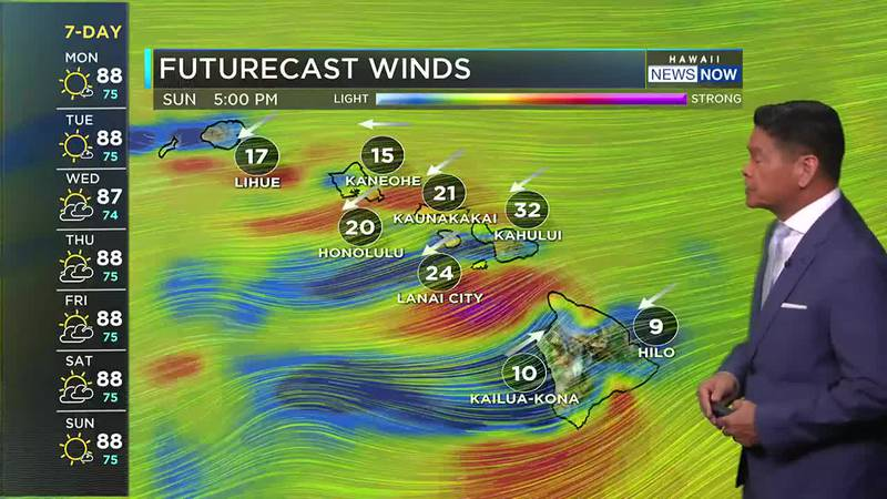 Winds will remain strong before tapering off slightly Tuesday.