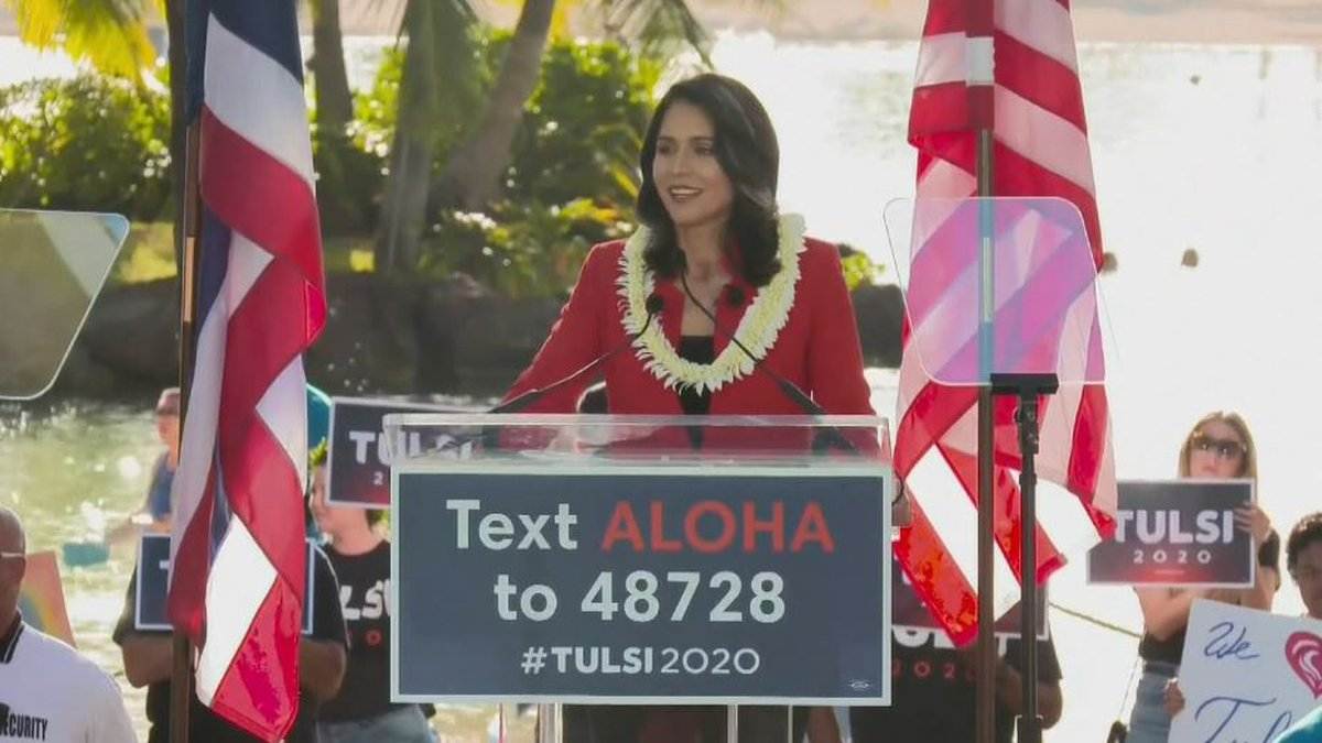 Tulsi Gabbard takes the podium Saturday to lay the foundation for her presidential campaign.