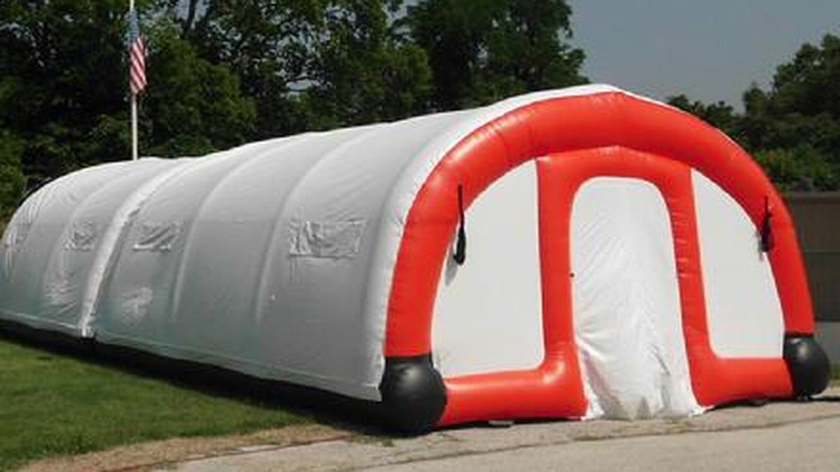 HPD is considering using inflatable shelters designed for first responders from Philadelphia...