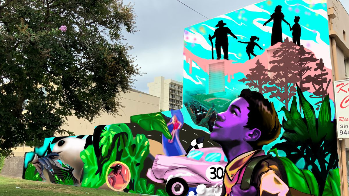 This rendering shows what the mural at Old Stadium Park will look like.
