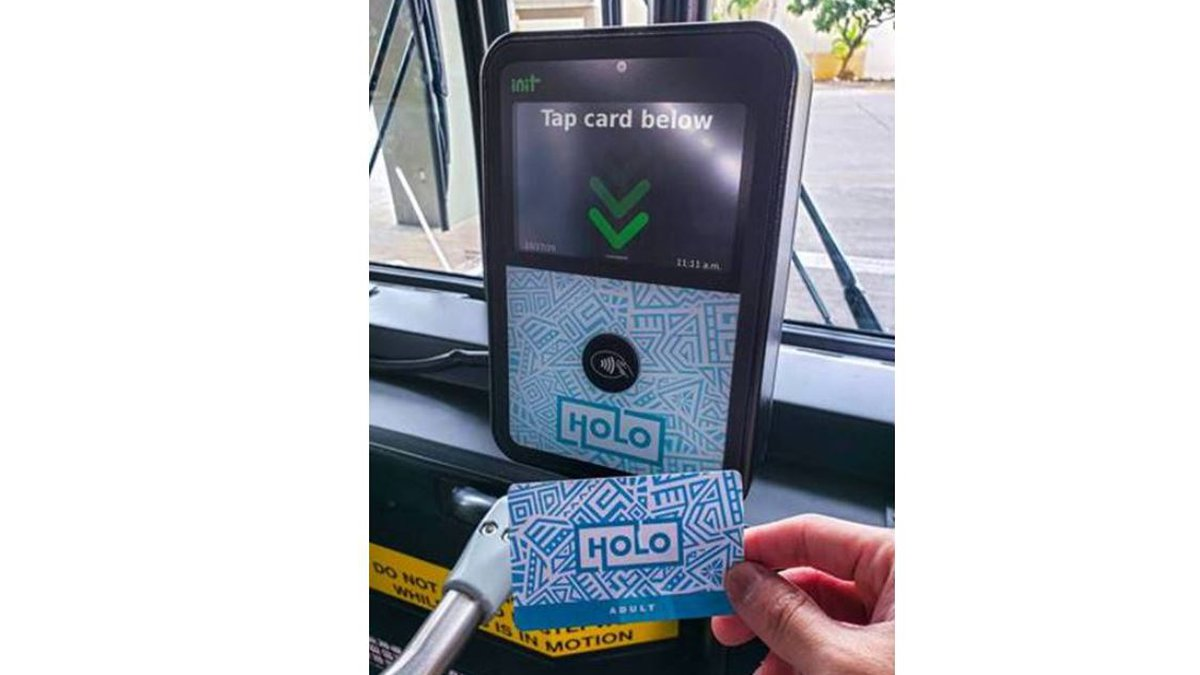 HOLO Cards are tapped onto a reader when riders get on the bus.