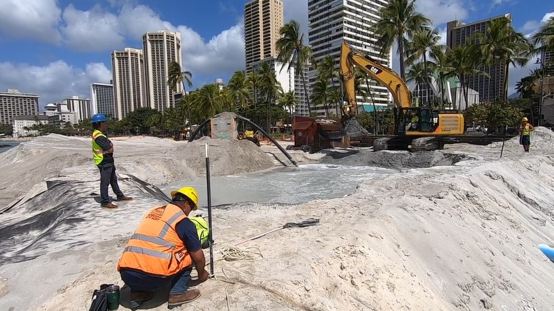 Waikiki Beach Sand Replenishment Project shown in its final stages.