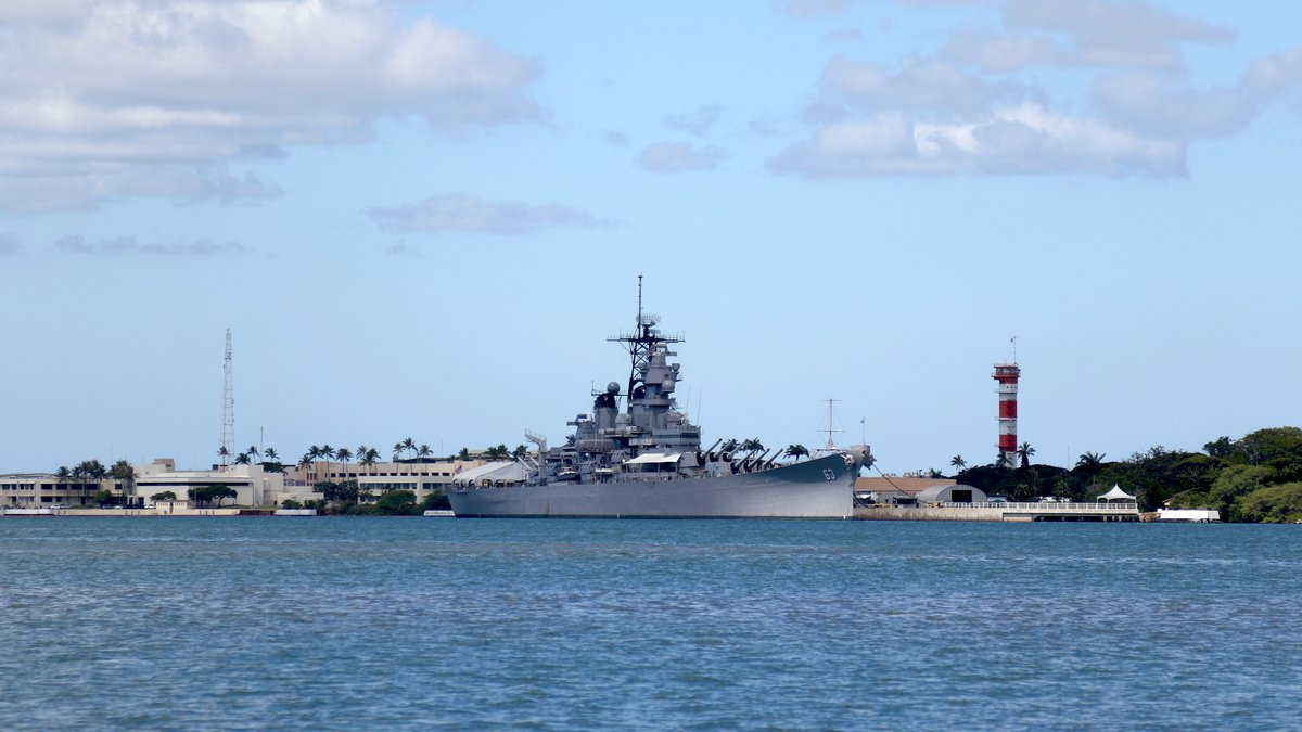 The USS Missouri Memorial is shown in Pearl Harbor, Hawaii, on Aug. 11, 2020. A Pearl Harbor...