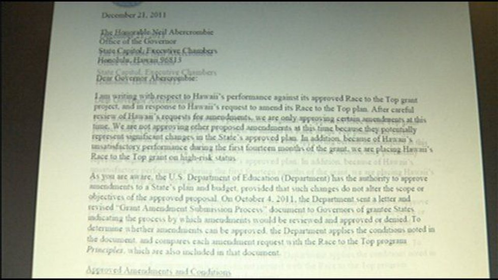 Letter to Governor Neil Abercrombie
