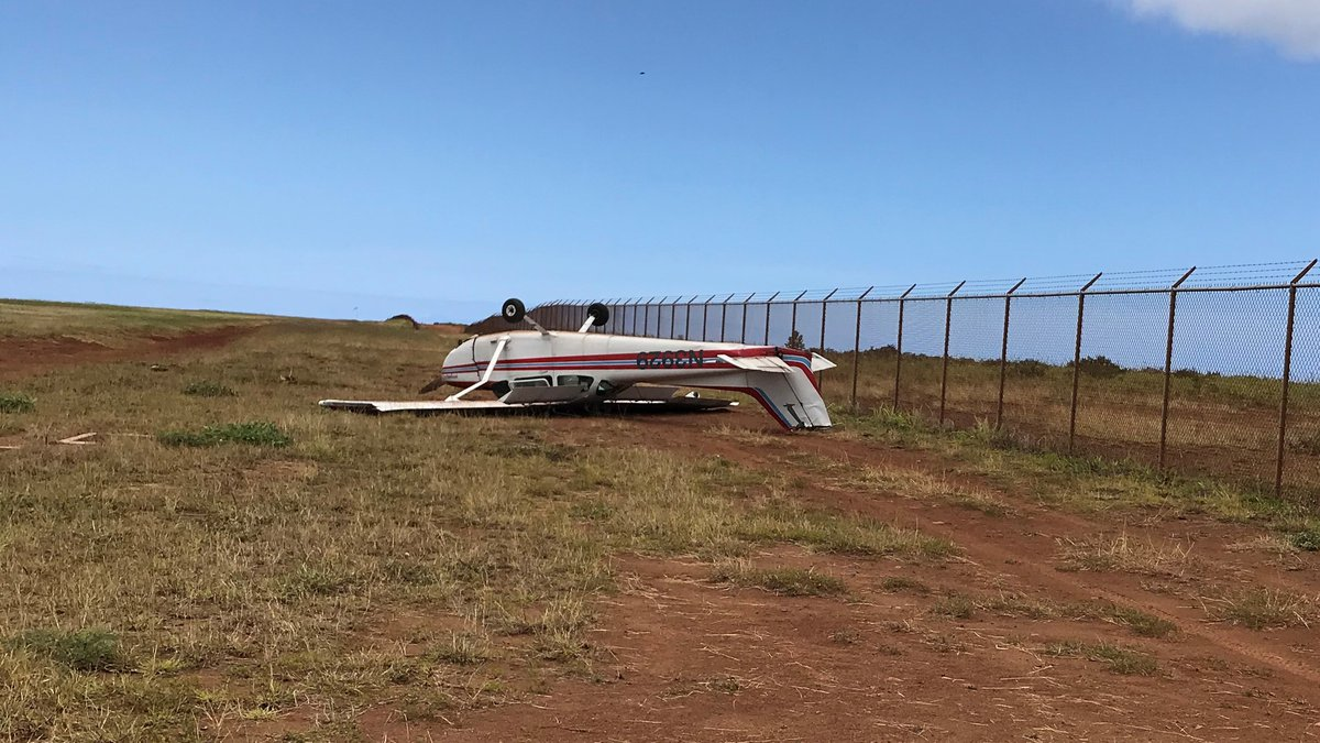 A Cessna plane flipped over at Lanai Airport during takeoff.