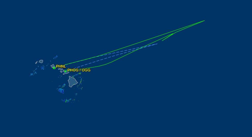 Diagram of flight path for US Airways flight 31
