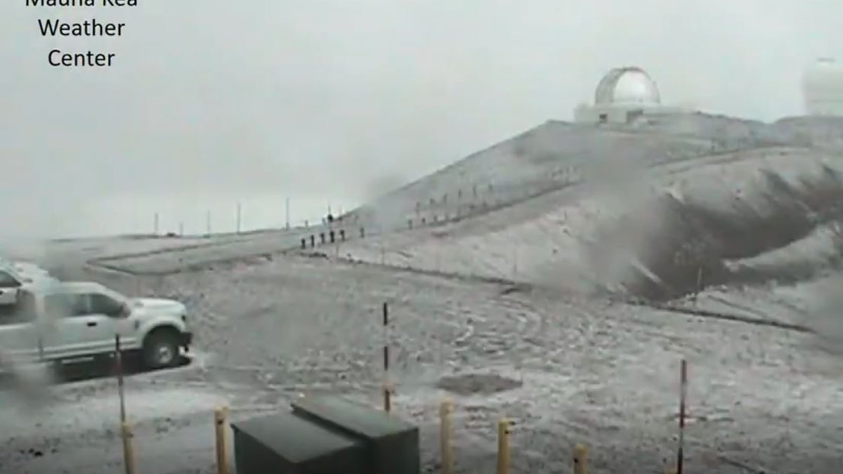 Snow on Mauna Kea was seen around 4 p.m. Monday.