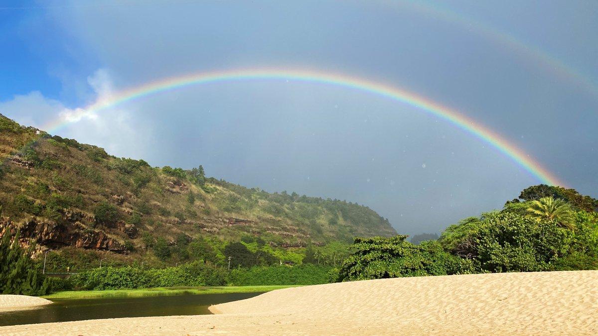 Rainbow at Waimea Bay on Oahu.