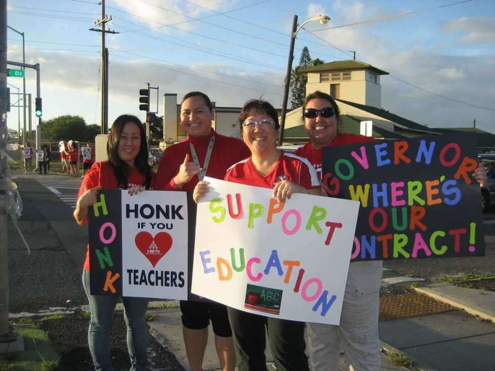 """Pearl Harbor Kai Elementary School teachers stage a """"Work to the Rule"""" protest last November"""