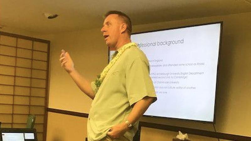 Melanoma patient Richard Hill speaks at a Maui Cancer Wellness Retreats event.