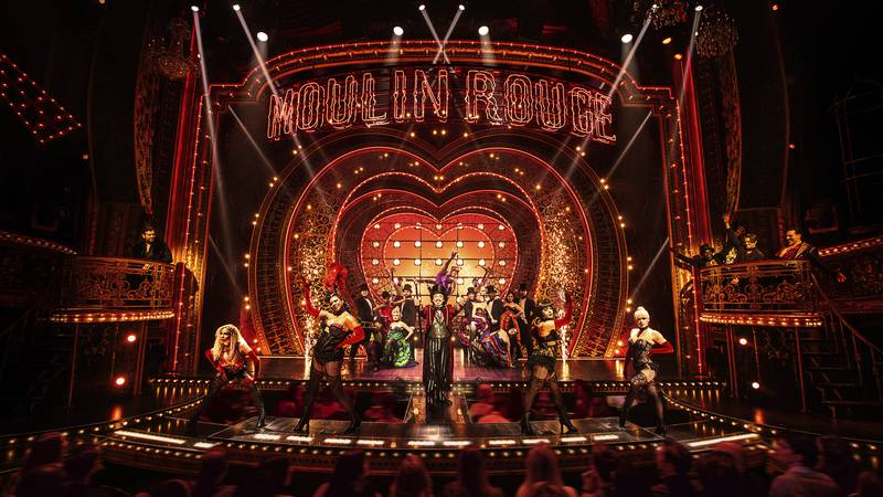 """This image released by Boneau/Bryan-Brown shows the cast in """"Moulin Rouge! The Musical."""""""