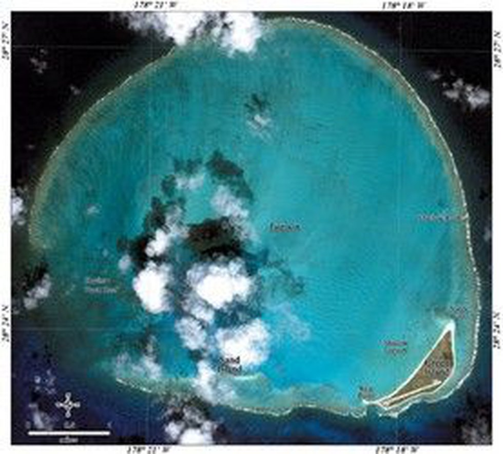 Satellite image of Kure Atoll courtesy NOAA.