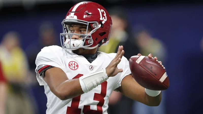 Alabama quarterback Tua Tagovailoa (13) warms up ahead of the Southeastern Conference...