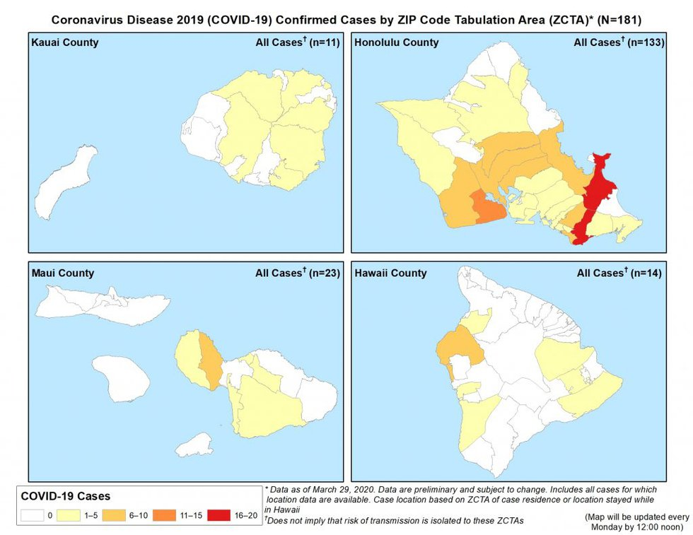 The Health Department released this map of coronavirus cases statewide on Monday night.
