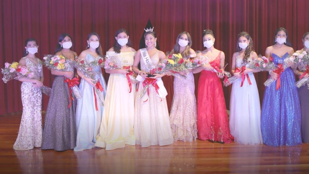 Ilima Sexton stands among the masked-up contestants at Sunday's Miss Hawaii's Outstanding Teen...