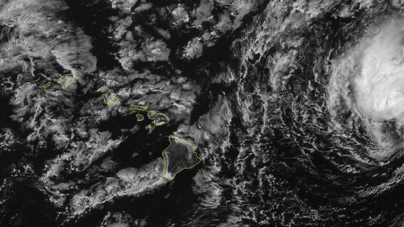 A visible satellite image shows remnants of former Hurricane Linda approaching Hawaii from the...