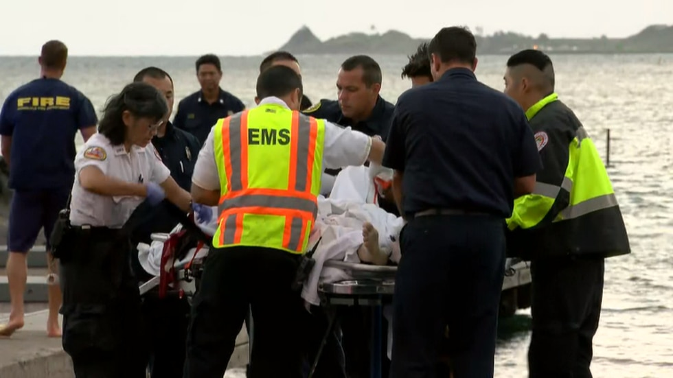 EMS officials say three people are in serious condition after a helicopter crashed into a...