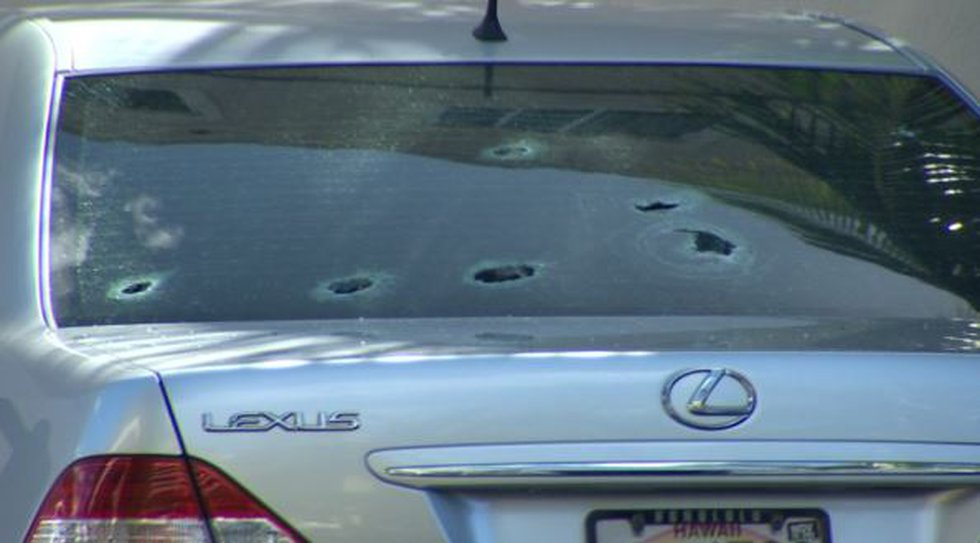 A car was riddled with bullets after a shooting in Makiki on Thursday.